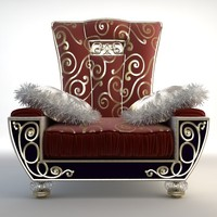 Ornate Armchair with Fringed Pillows