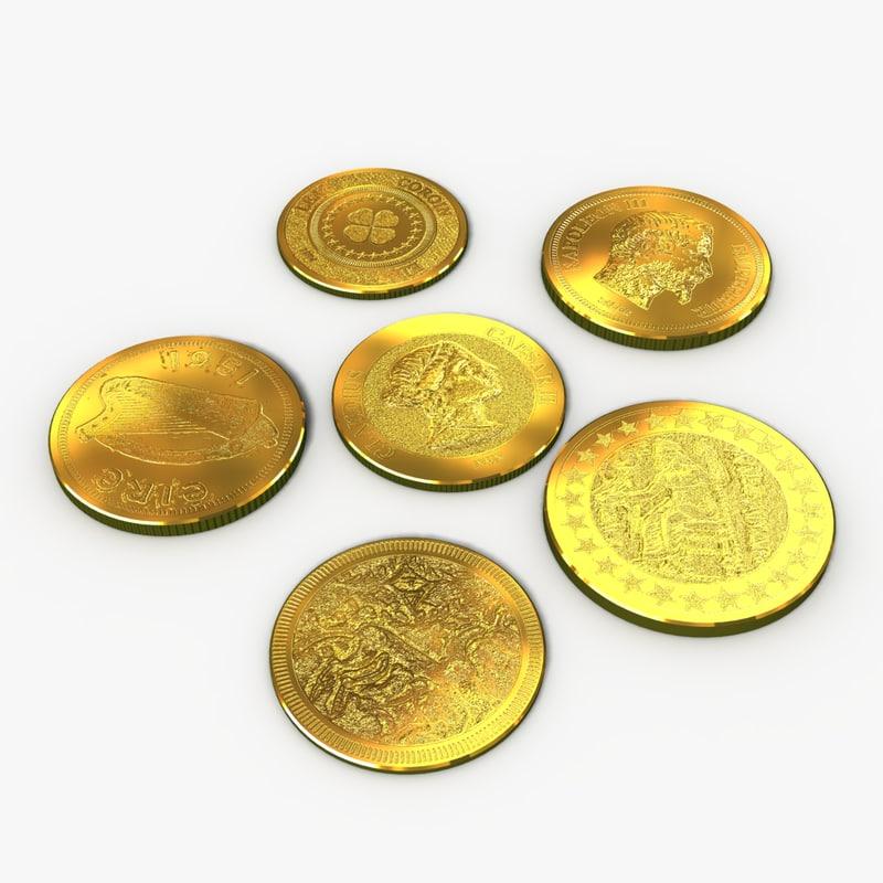 3d obj gold coins