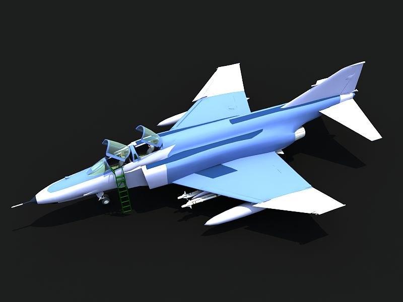 3d f-4e military jet aircraft model