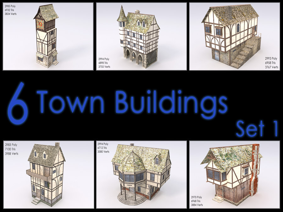 medieval town building games 3d model