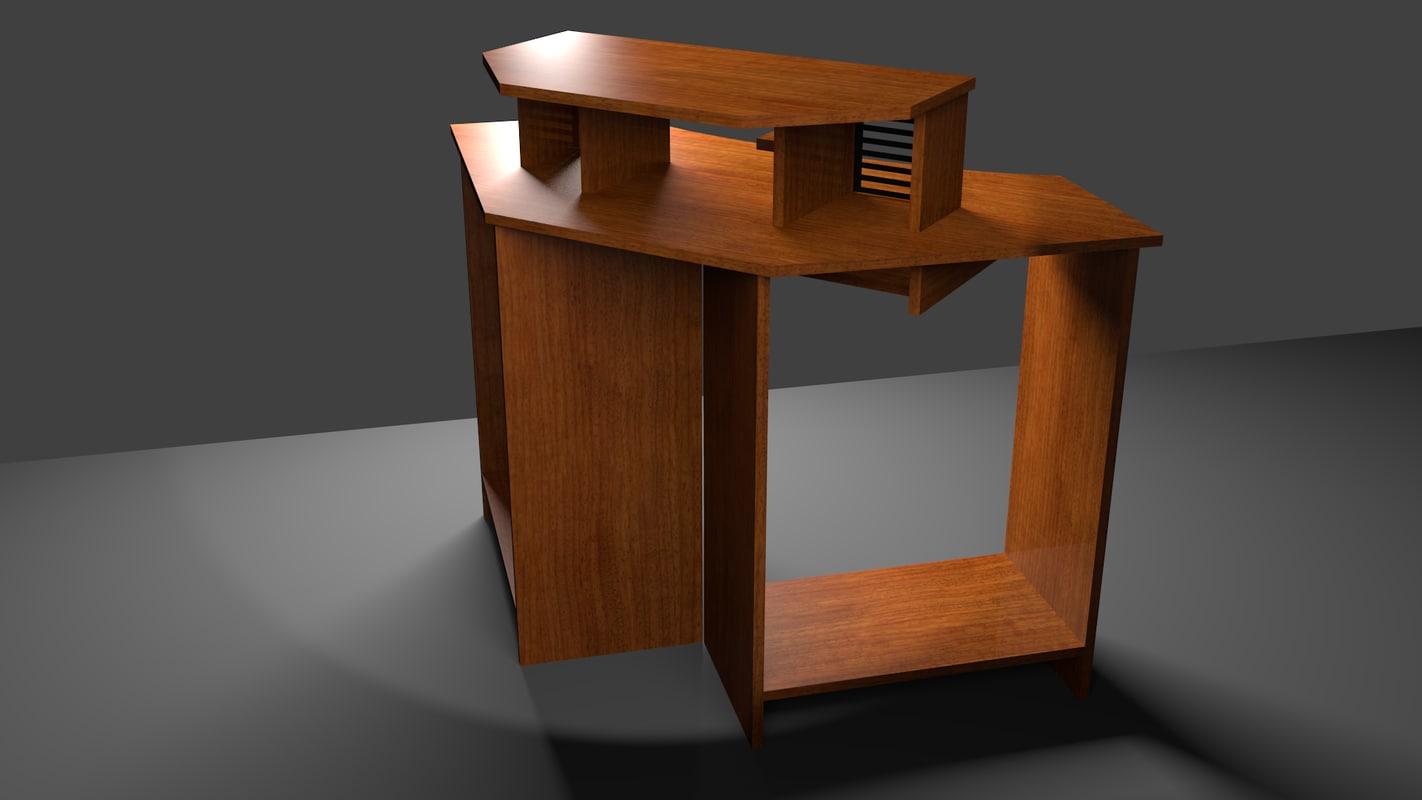 3d model corner computer desk