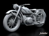 3d model vintage motorcycle