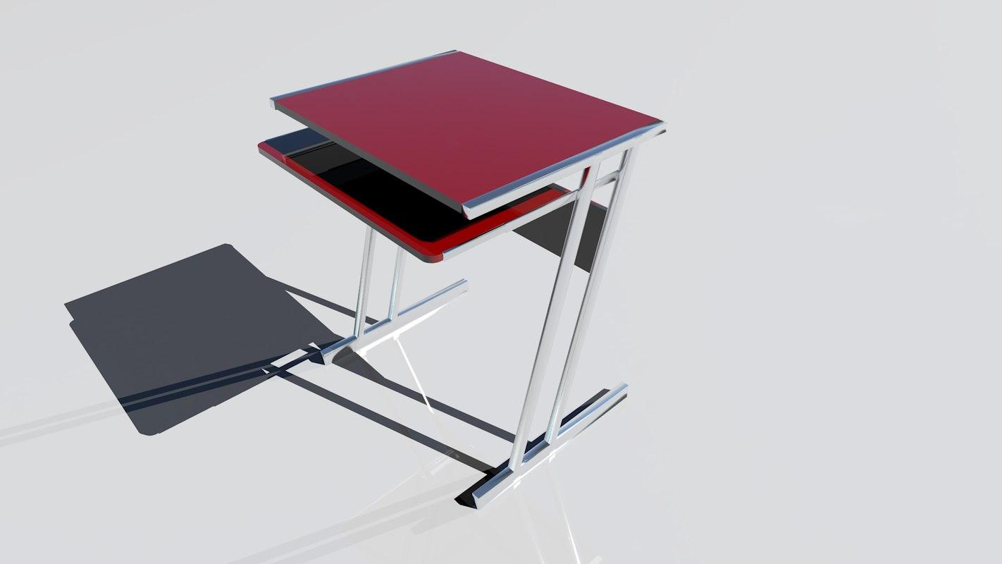 red desk computer 3d model