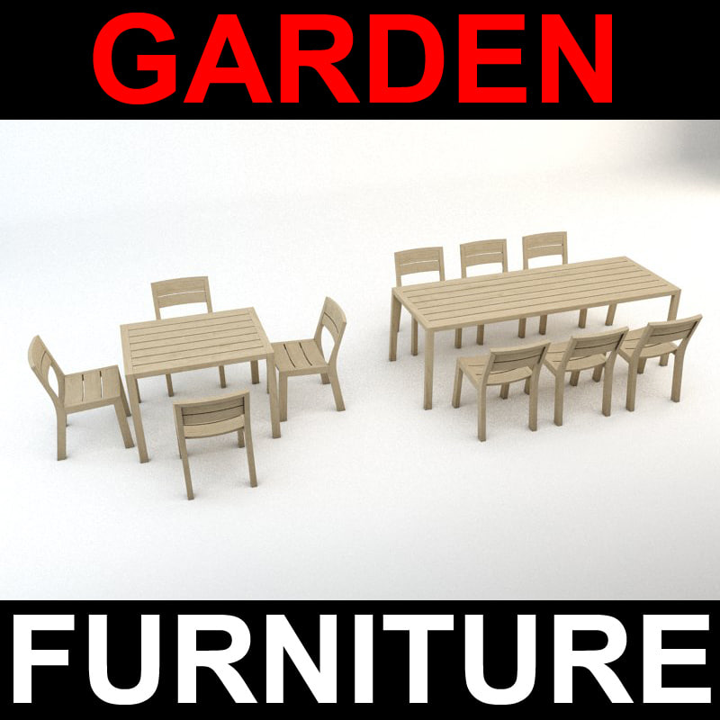 garden furniture set chairs tables 3d model