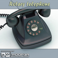 3d old rotary telephone model