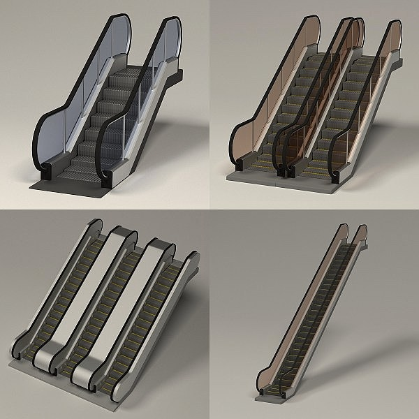 realistic escalators 3d model