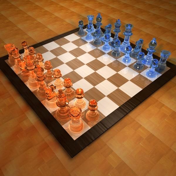 c4d glass chess set
