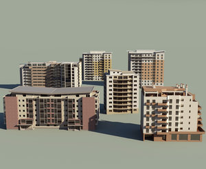 3d 6 apartment buildings model