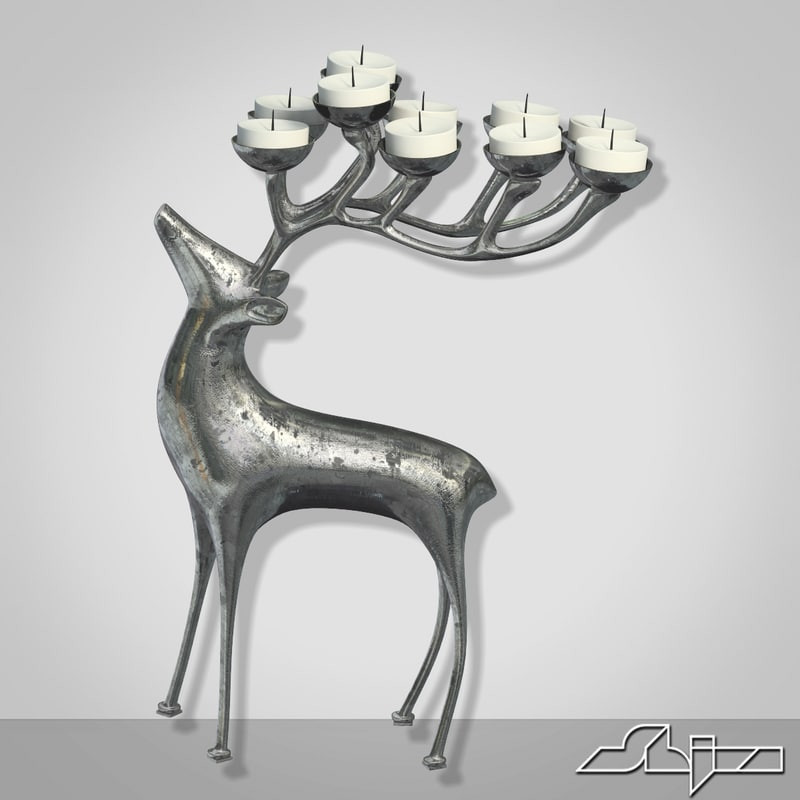 candlestick deer 3d model