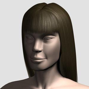 3d hair character mesh model