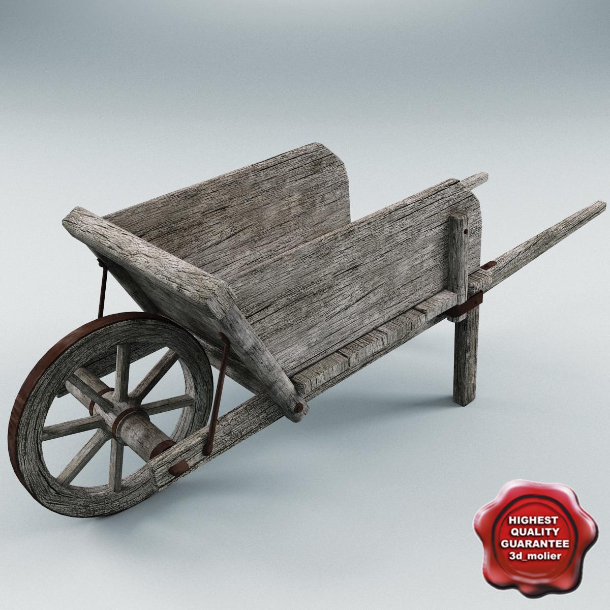 3ds max old wooden cart v2