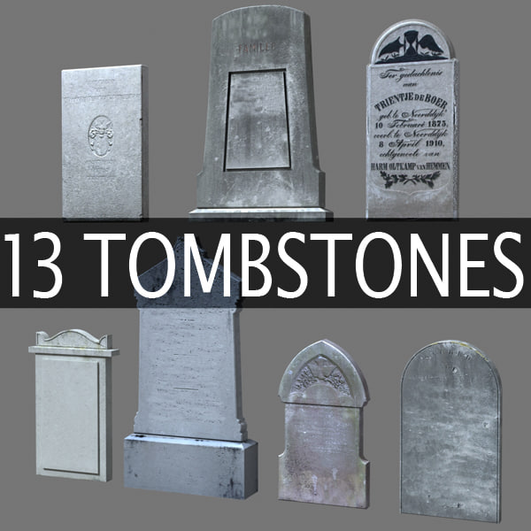 13 tomb stones tombstones c4d for Tombstone templates for halloween