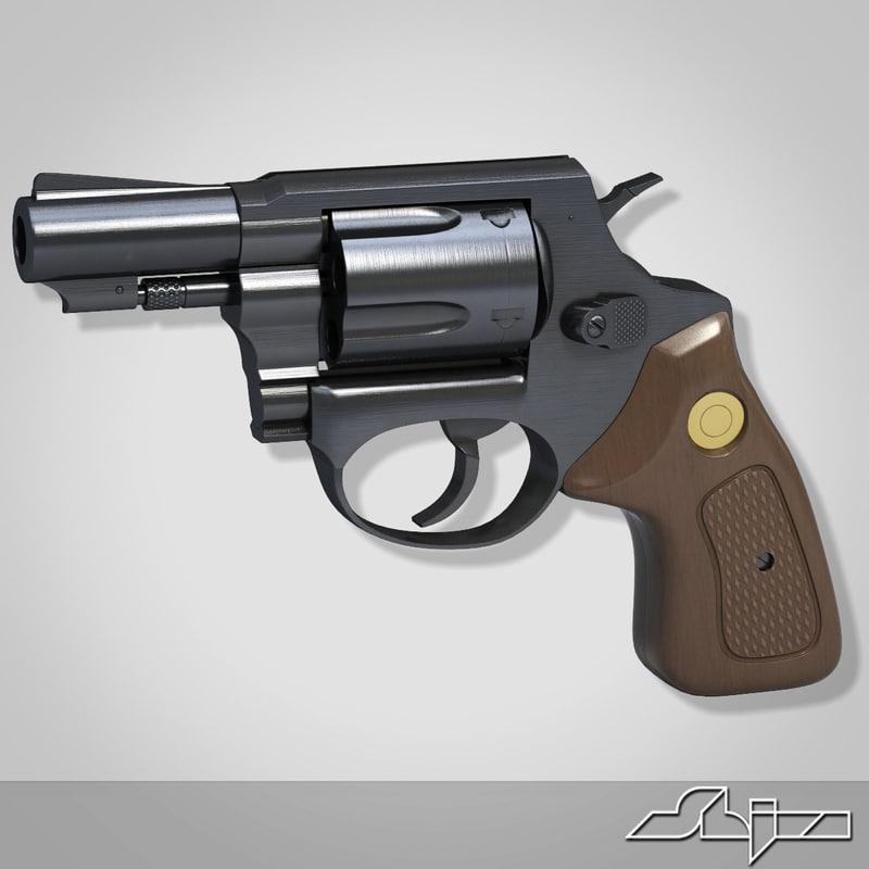 3d model revolver pistol