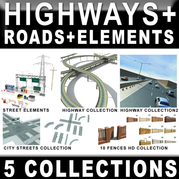 highway roads 3d model