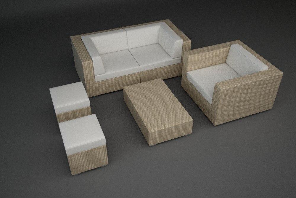 3d rattan lounge furniture set model