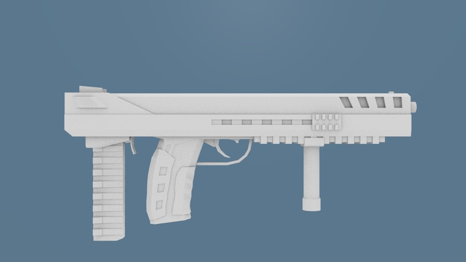 scifi submachine gun obj