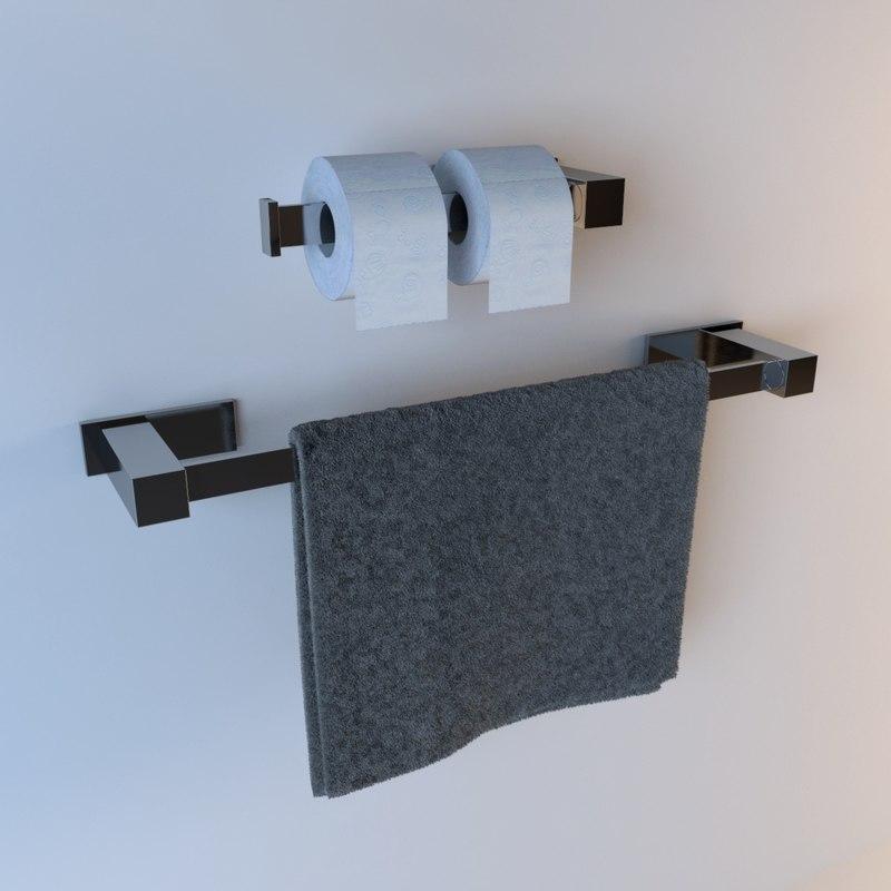 bathroom hangs towel 3d max