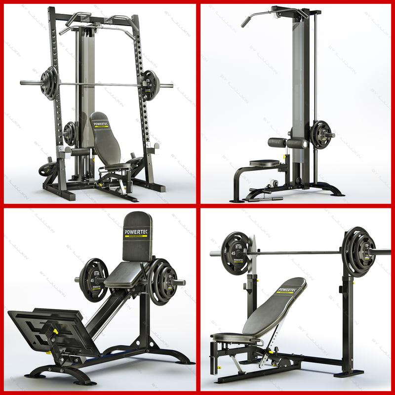 equipment bodybuilding powertec power 3d model