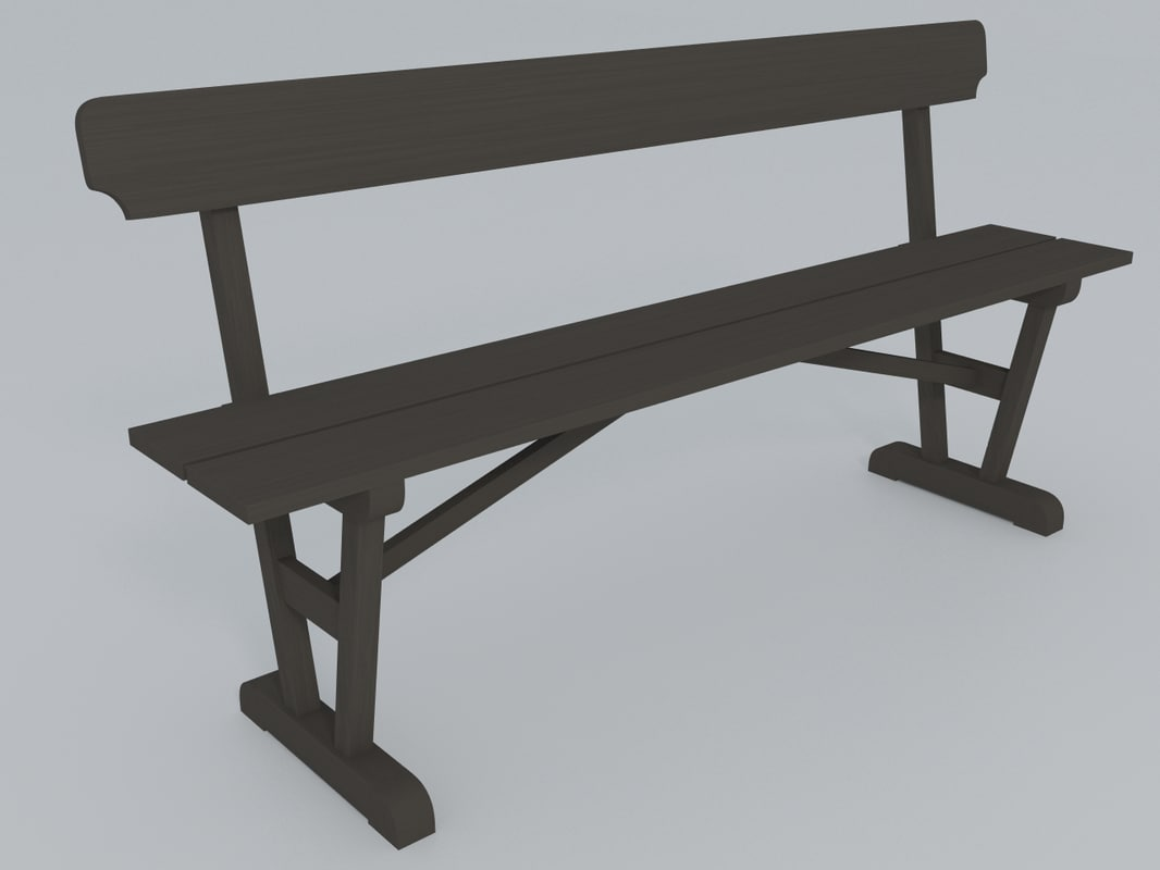 3d model wooden bench old style
