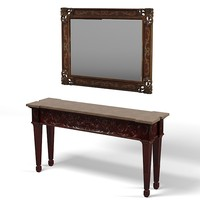console table mirror rectangular wood carving classic traditional