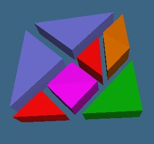 3d tangram pieces model
