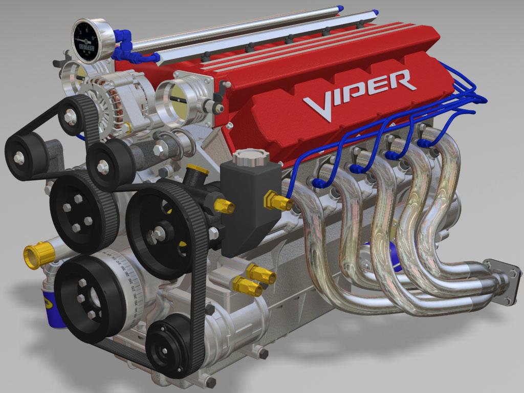 3d model v10 fuel engine