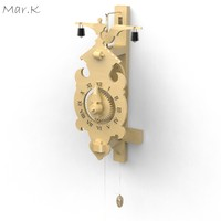 wooden clock 3d obj