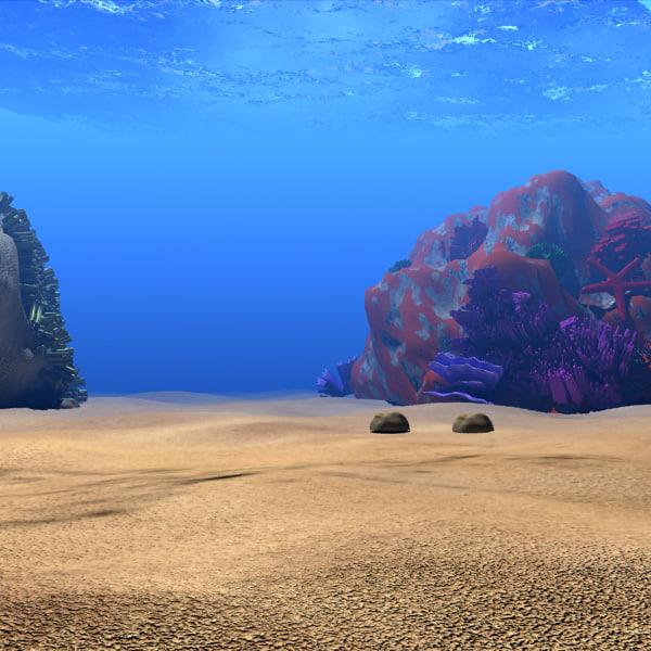 coral scene 3d model