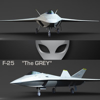 3ds max f-25 grey futuristic fighter
