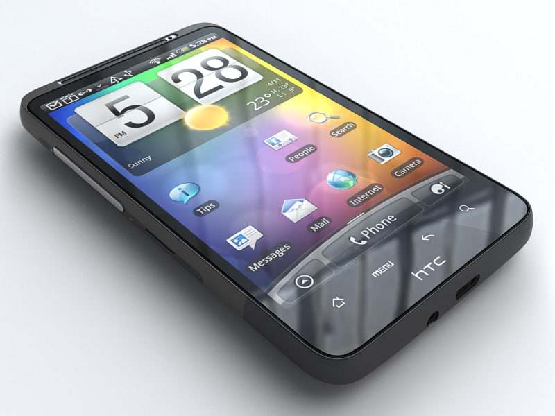 htc desire hd mobile phone 3d model