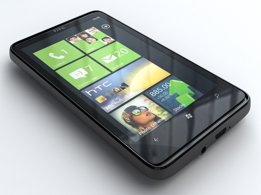 3d model of htc hd 7 mobile phone