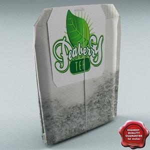 3d model tea bag peaberry