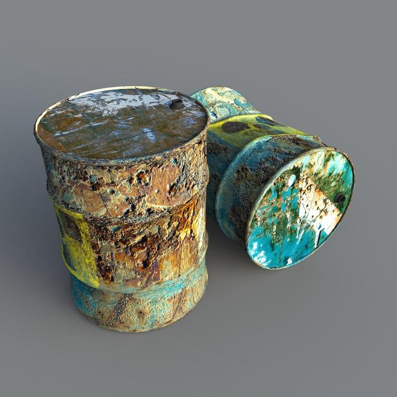 3d toxic waste barrels model