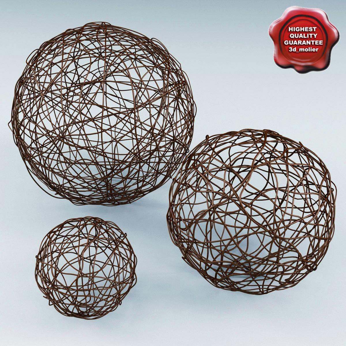 3d wicker core spheres model