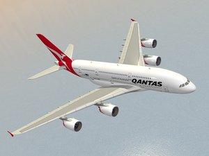 airbus a380-800 qantas a380 3d obj