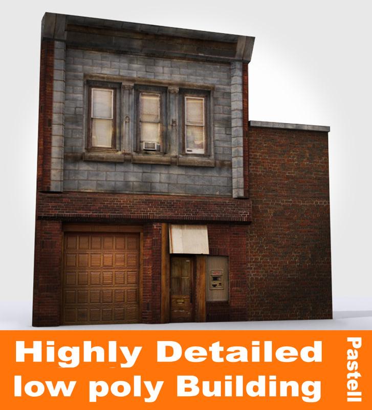shop building facade 3d max