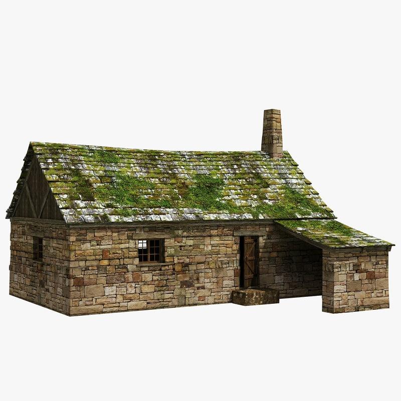 3d old cottage