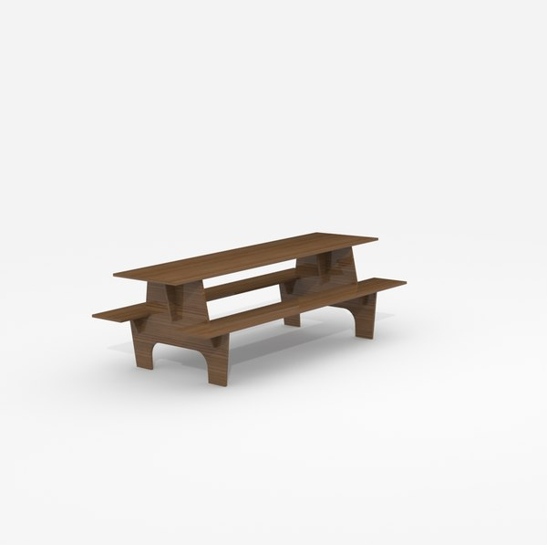 3d model wood table