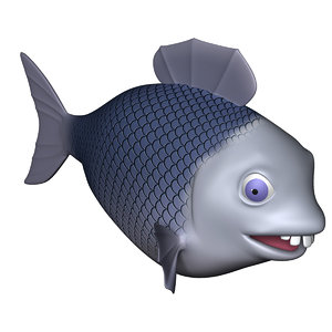 fish cartoon character rigged 3d 3ds