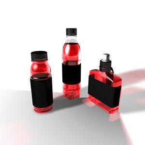 3d model bottles label