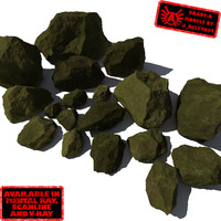 Rocks - Stones 9 Jagged RM10 - Mossy Green 3D Rocks or Stones