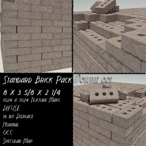 bricks standard size 001 3d model