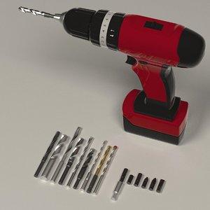 3d model drill machine screwdrivers
