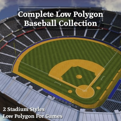 3ds max complete baseball stadium bases