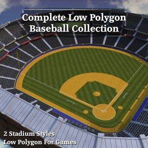 3ds max complete baseball stadium bases