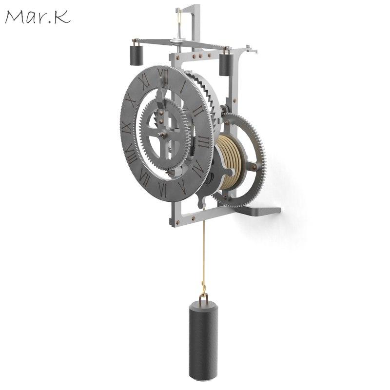 3d metal clock