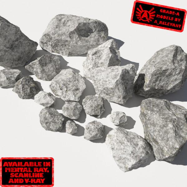 3d jagged rocks stones - model