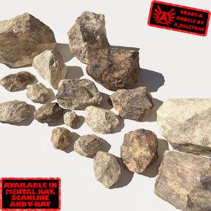 jagged rocks stones - obj