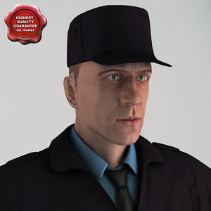 3d security guard t-pose