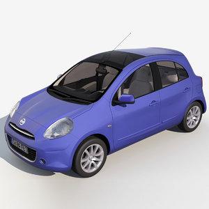 nissan micra 2011 tekna 3d model